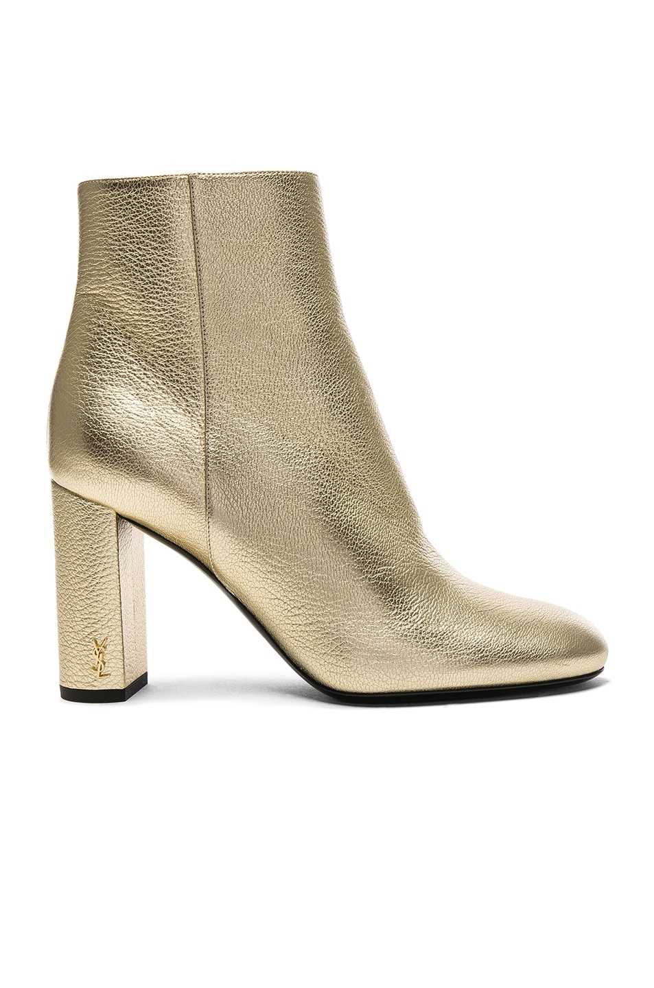Image 1 of Saint Laurent Leather Loulou Boots in Pale Gold