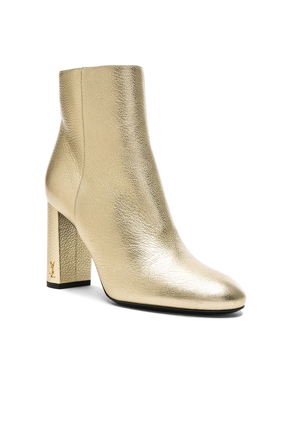 Image 2 of Saint Laurent Leather Loulou Boots in Pale Gold