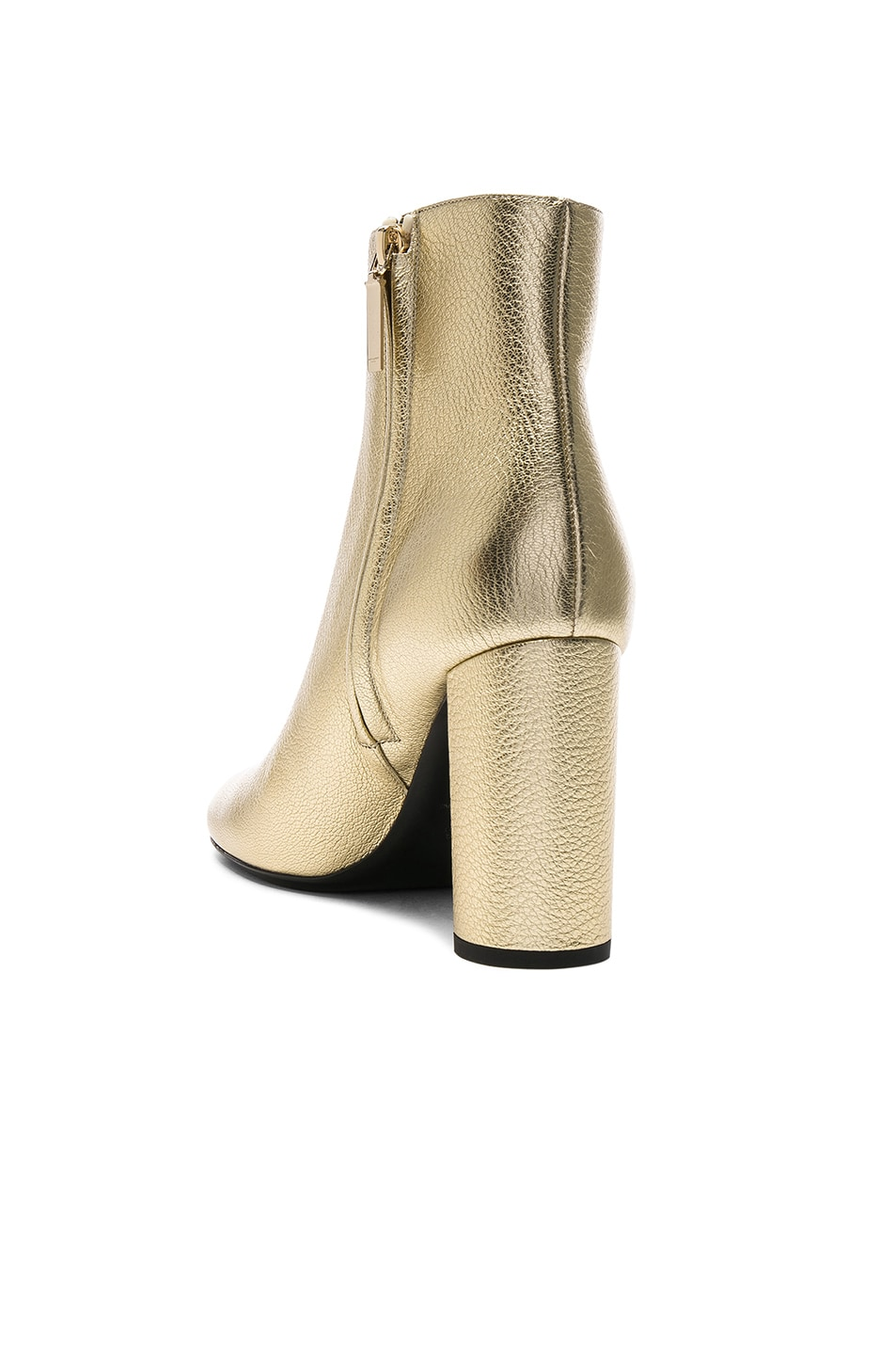 Image 3 of Saint Laurent Leather Loulou Boots in Pale Gold