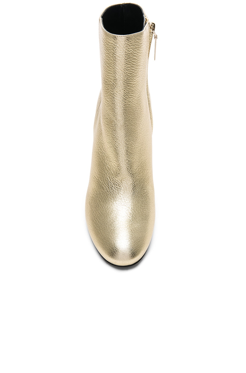 Image 4 of Saint Laurent Leather Loulou Boots in Pale Gold