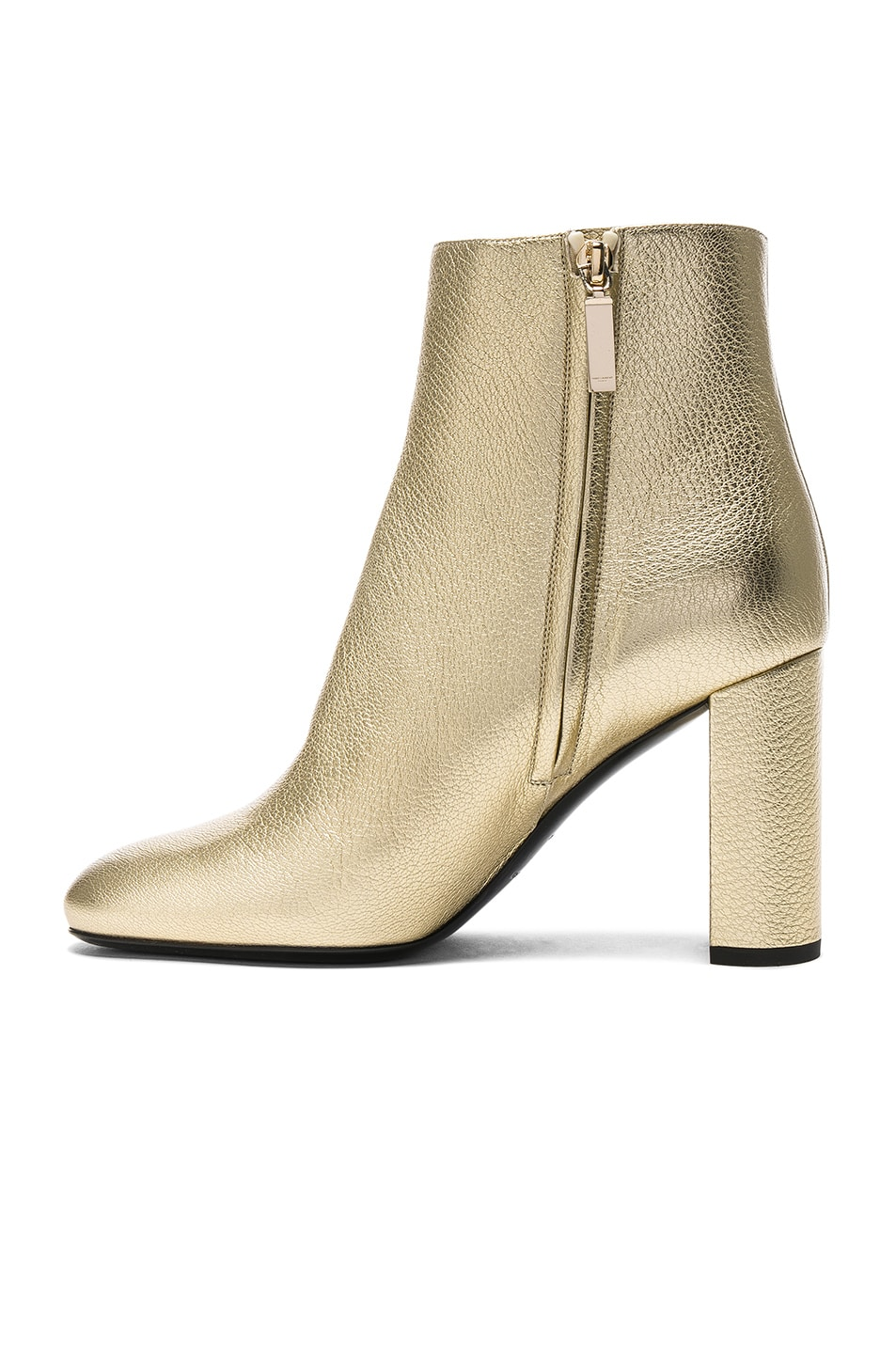Image 5 of Saint Laurent Leather Loulou Boots in Pale Gold