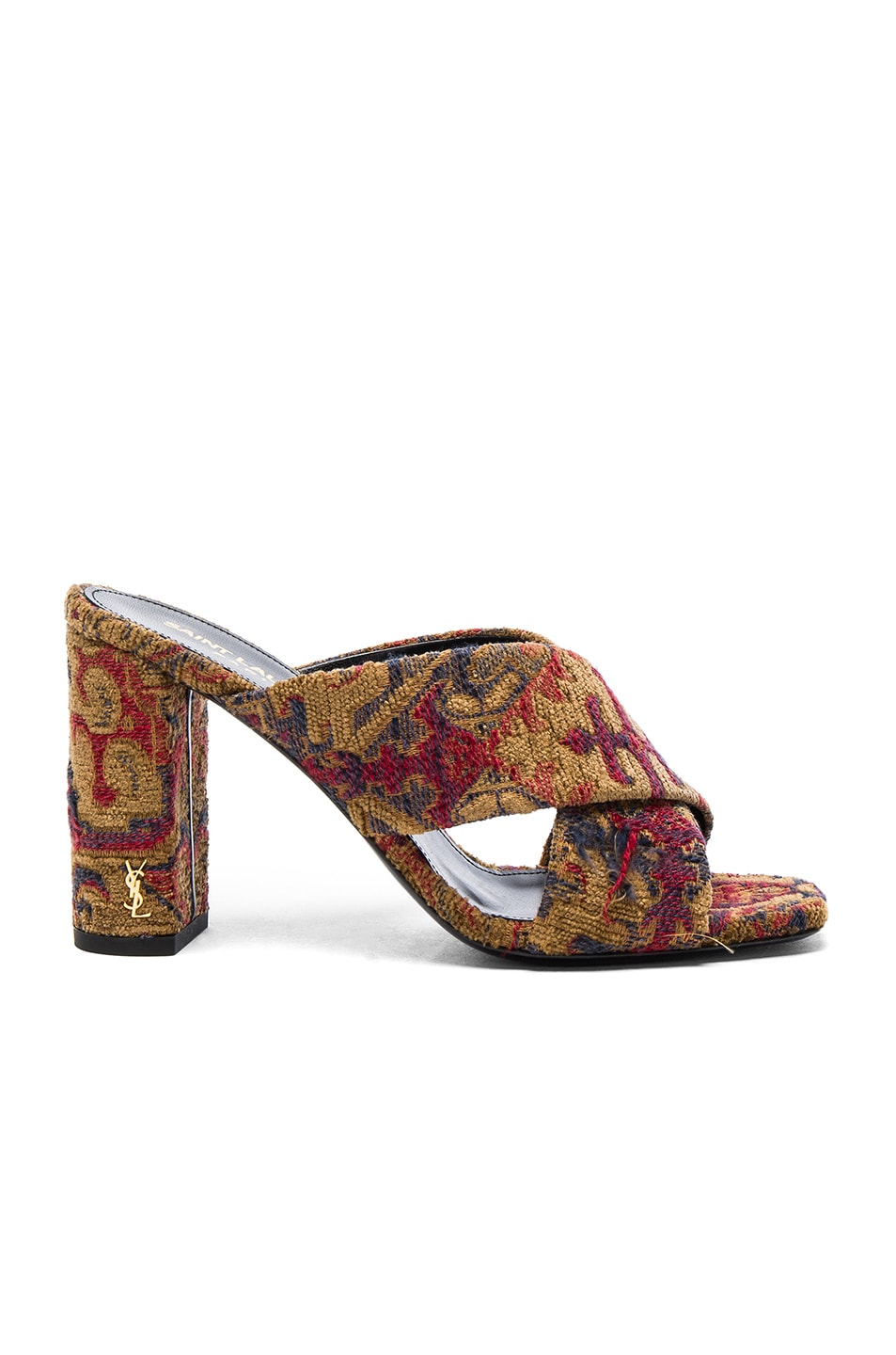 Image 1 of Saint Laurent Loulou Tapestry Mules in Saffron Red
