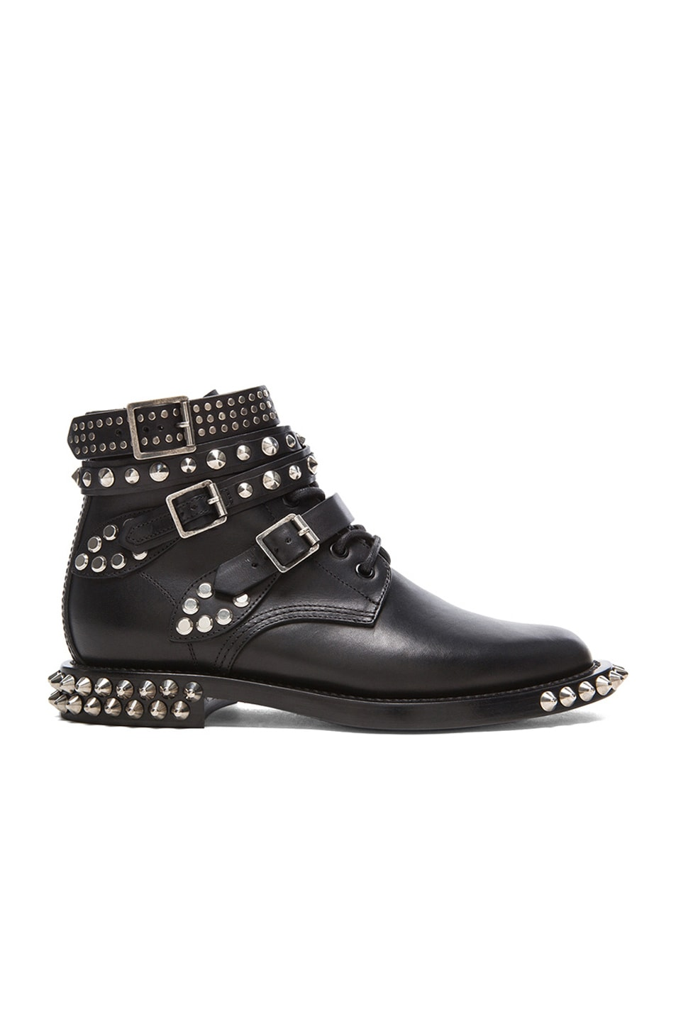 Image 1 of Saint Laurent Rangers Double Studded Leather Low Combat Boots in Black