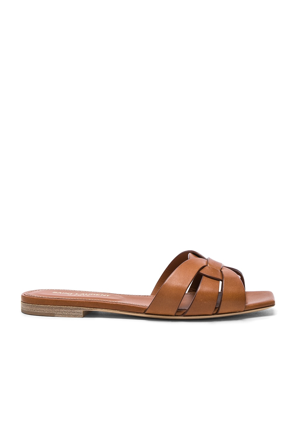 Image 1 of Saint Laurent Nu Pieds Leather Slides in Amber