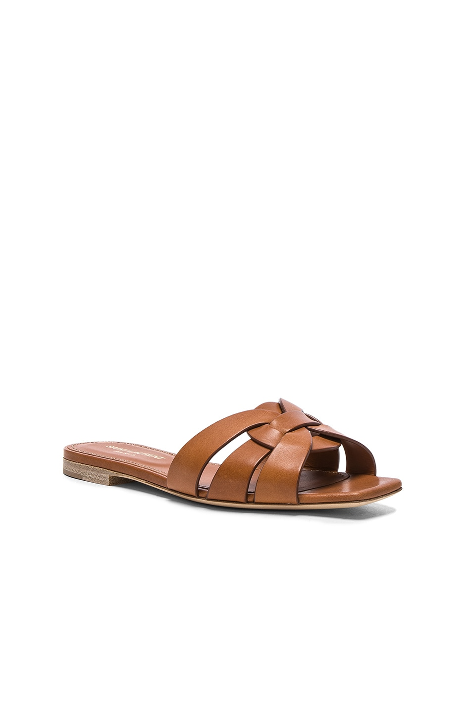 Image 2 of Saint Laurent Nu Pieds Leather Slides in Amber