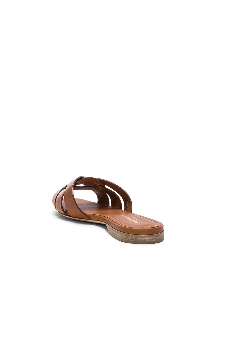 Image 3 of Saint Laurent Nu Pieds Leather Slides in Amber