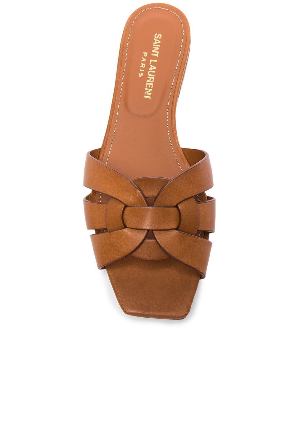 Image 4 of Saint Laurent Nu Pieds Leather Slides in Amber