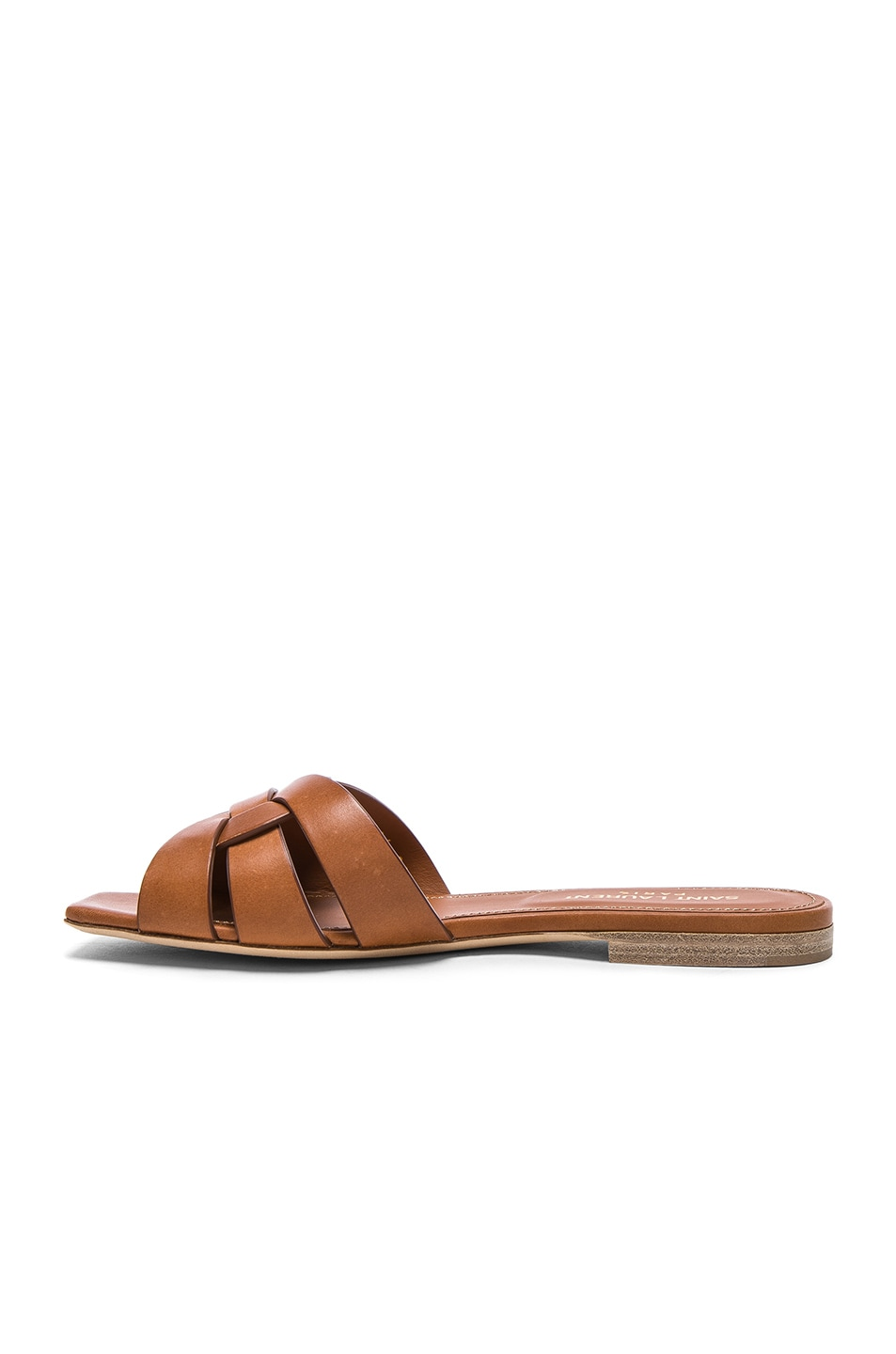 Image 5 of Saint Laurent Nu Pieds Leather Slides in Amber