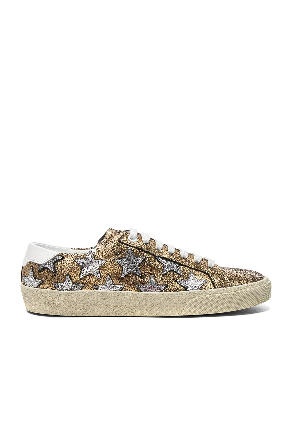 Image 1 of Saint Laurent Leather Court Classic Star Sneakers in Gold, Optic White & Silver