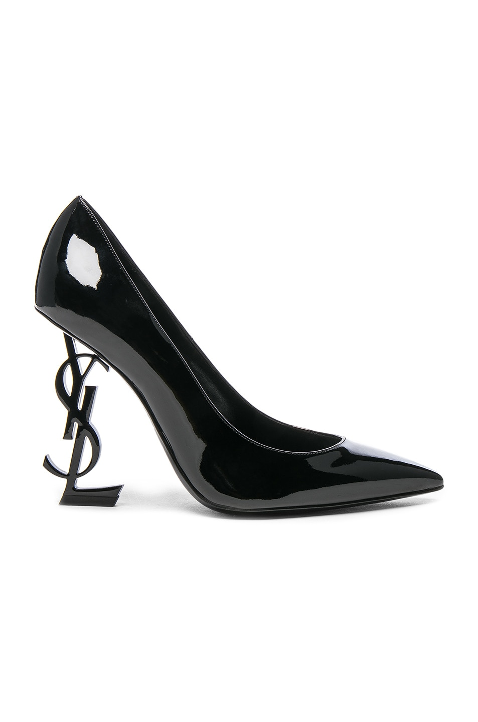 b4d18ec1433 Image 1 of Saint Laurent Patent Leather Opium Monogramme Heels in Black &  Black