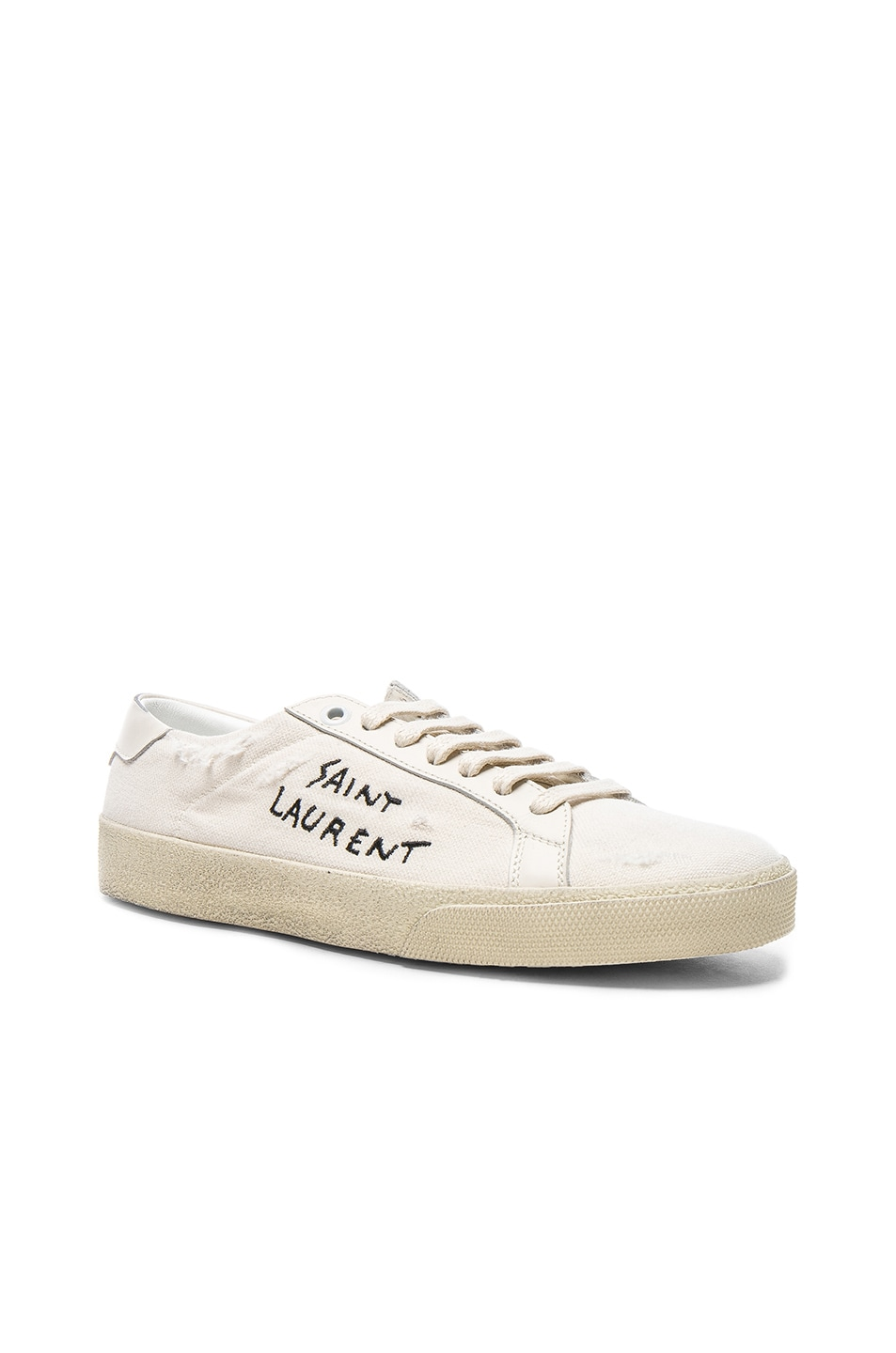 551a01db9deb Image 2 of Saint Laurent Leather Court Classic Logo Sneakers in Optic White    Black