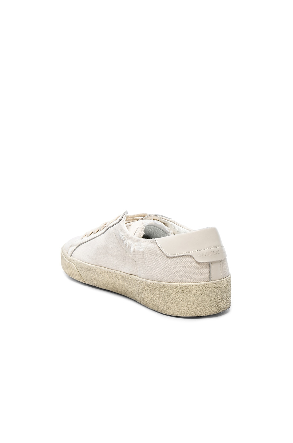Image 3 of Saint Laurent Leather Court Classic Logo Sneakers in Optic White & Black