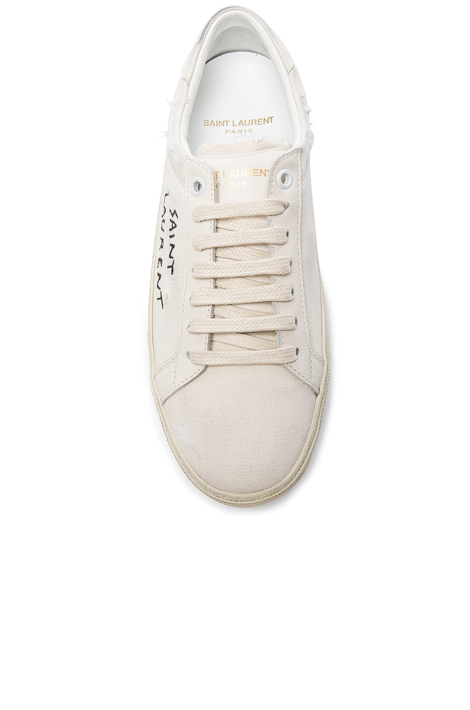 Image 4 of Saint Laurent Leather Court Classic Logo Sneakers in Optic White & Black