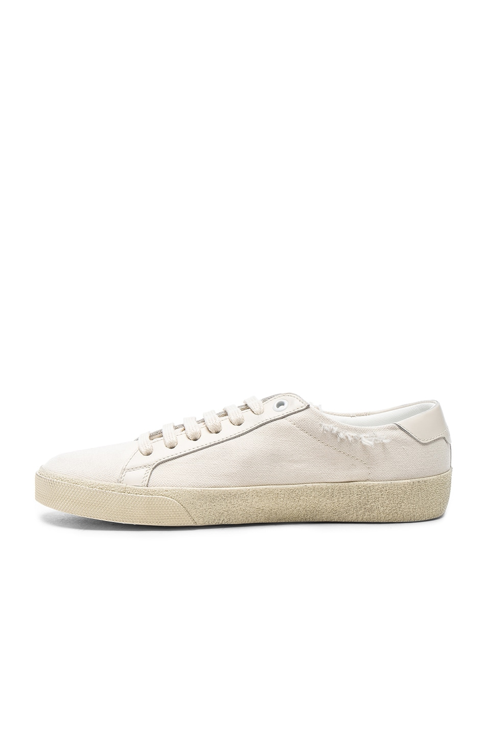 Image 5 of Saint Laurent Leather Court Classic Logo Sneakers in Optic White & Black