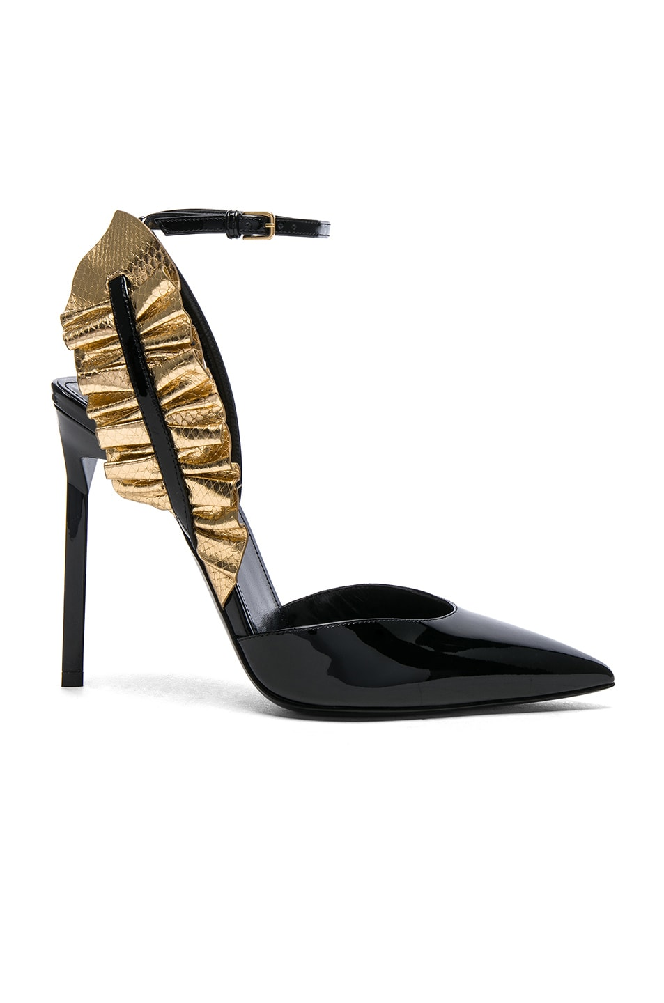 Image 1 of Saint Laurent Patent Leather  Edie Ruffle Heels in Gold & Black