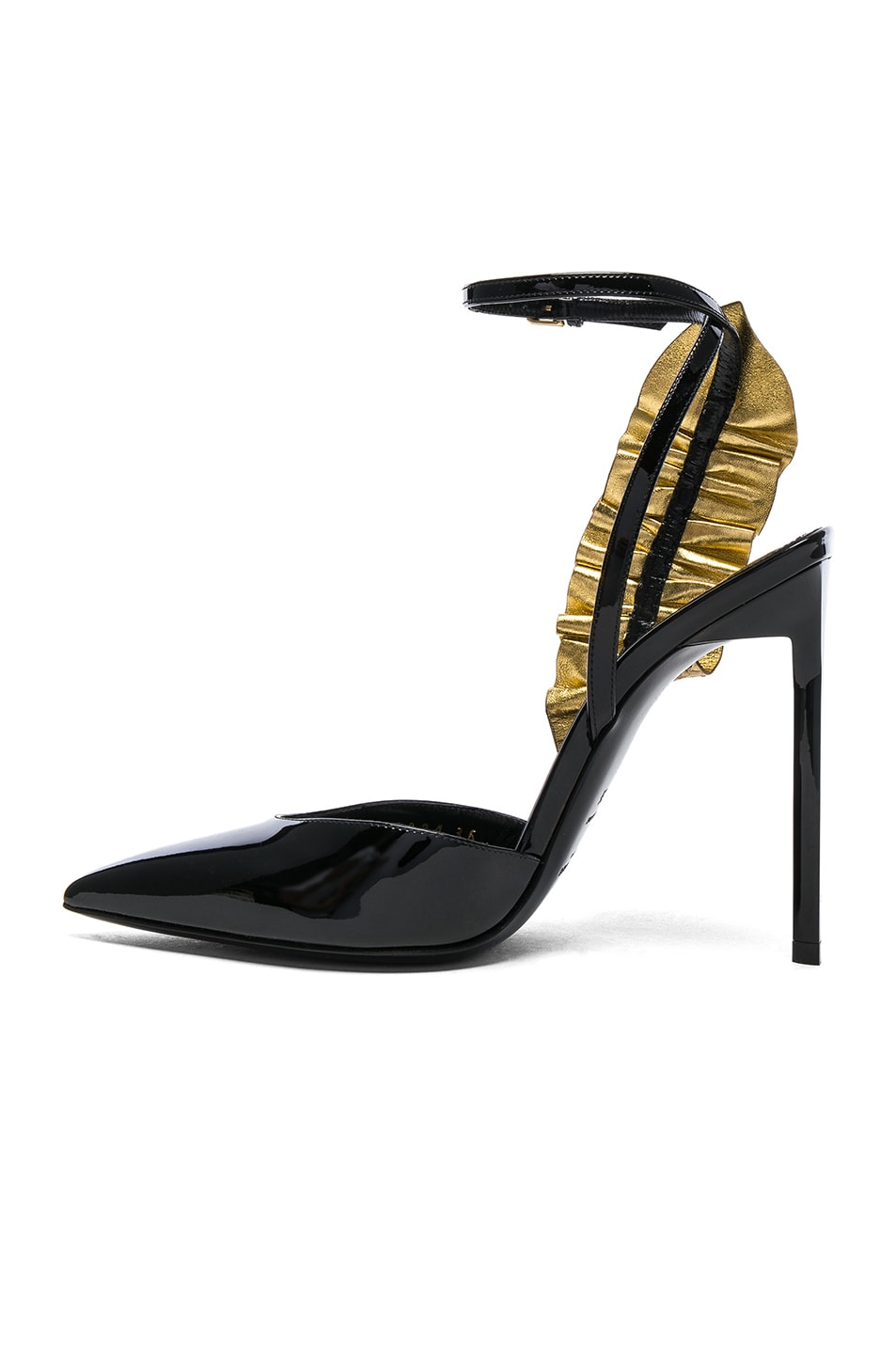 Image 5 of Saint Laurent Patent Leather  Edie Ruffle Heels in Gold & Black