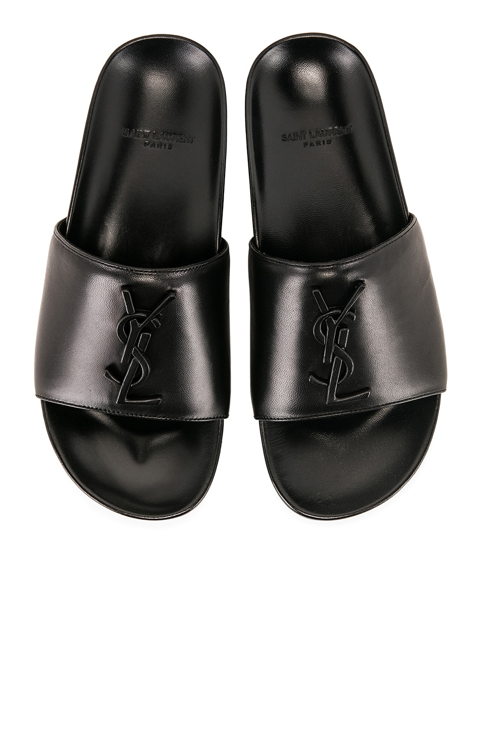 Image 1 of Saint Laurent Joan Leather Slides in Black