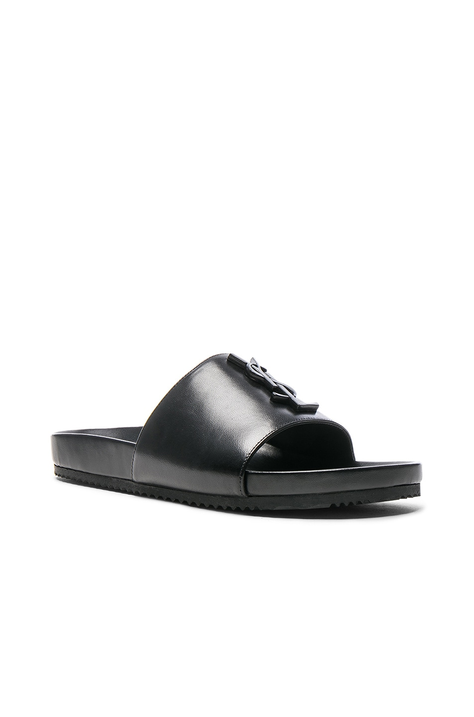 Image 2 of Saint Laurent Joan Leather Slides in Black
