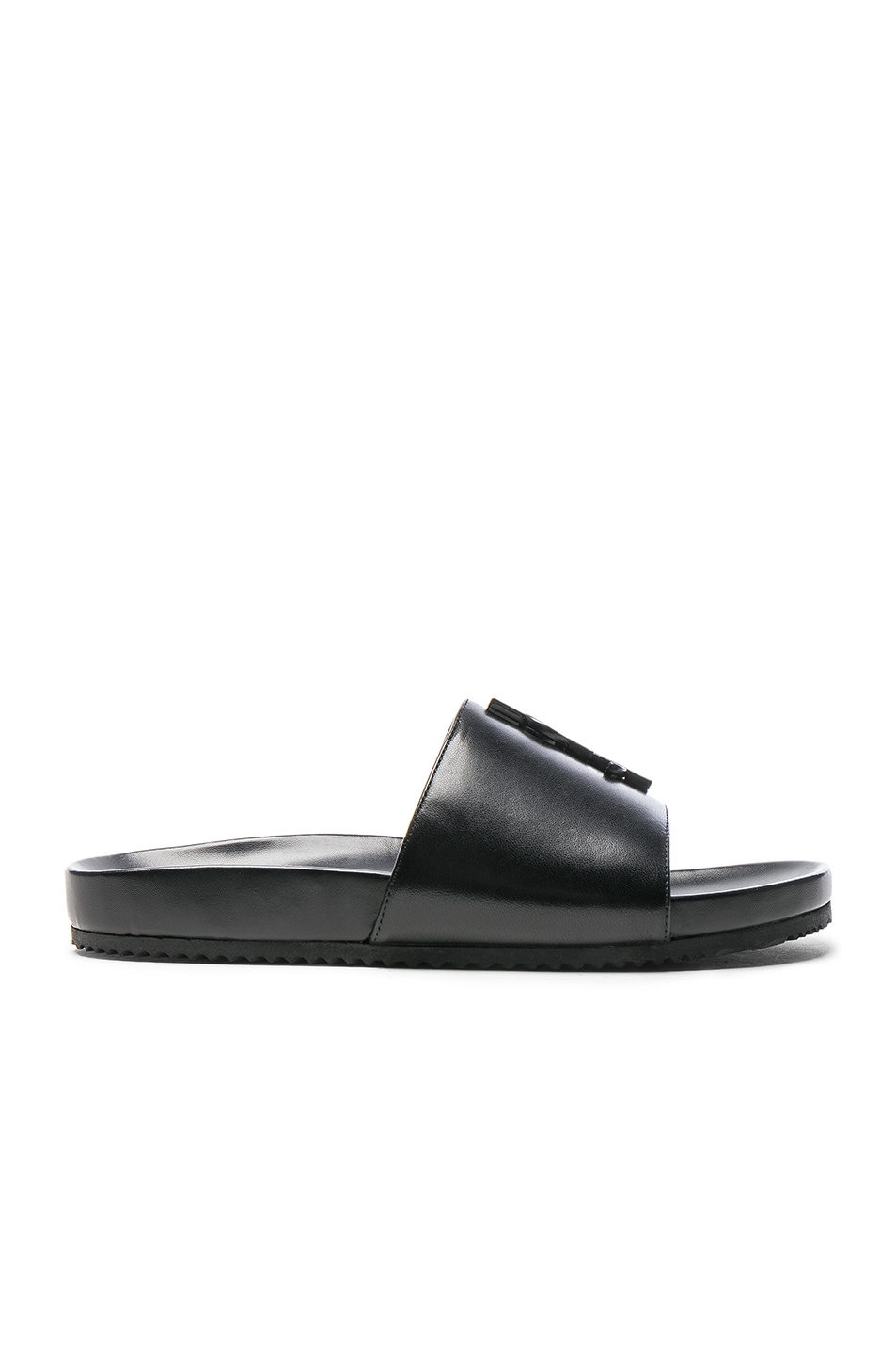 Image 4 of Saint Laurent Joan Leather Slides in Black