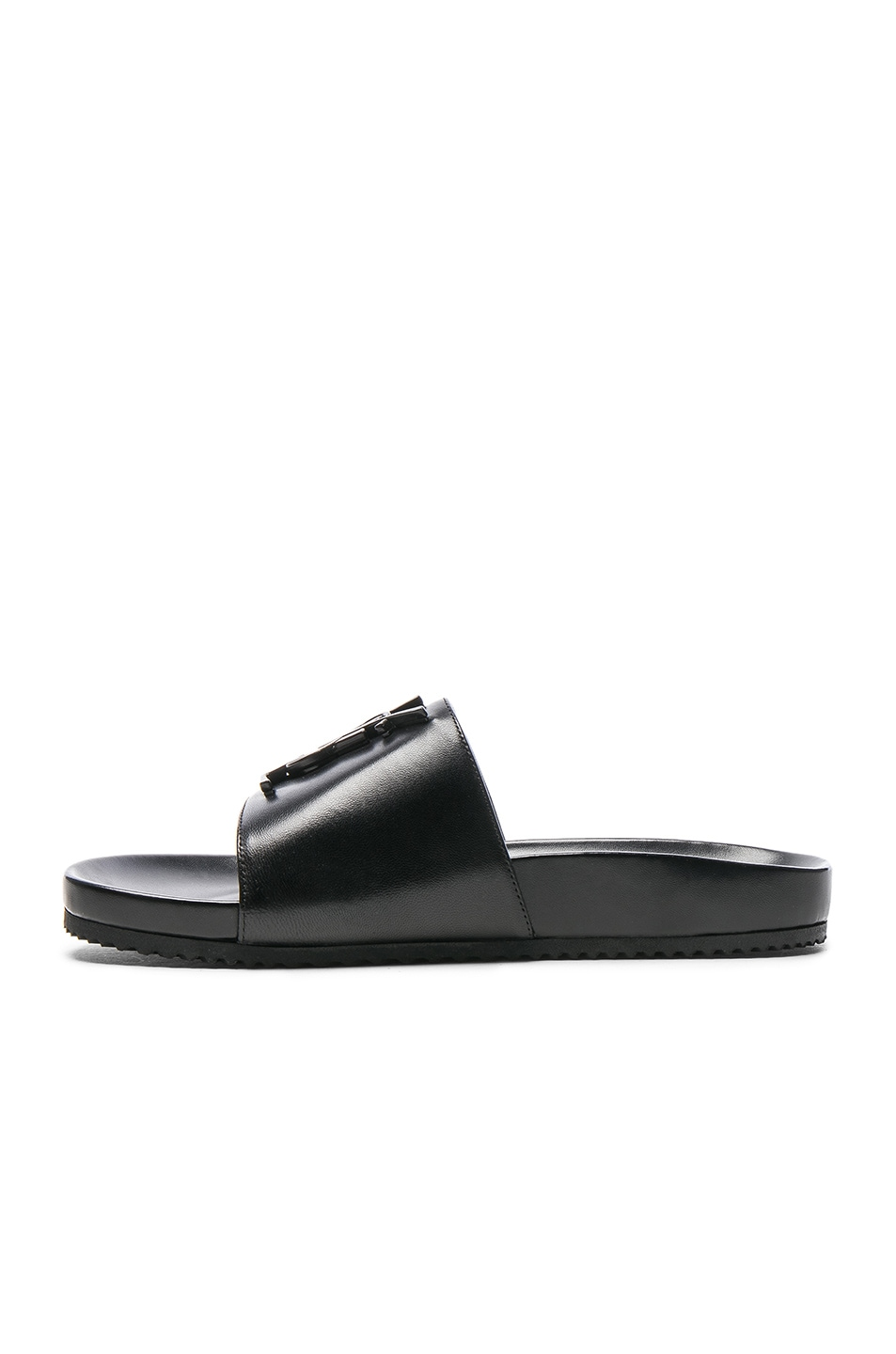 Image 5 of Saint Laurent Joan Leather Slides in Black