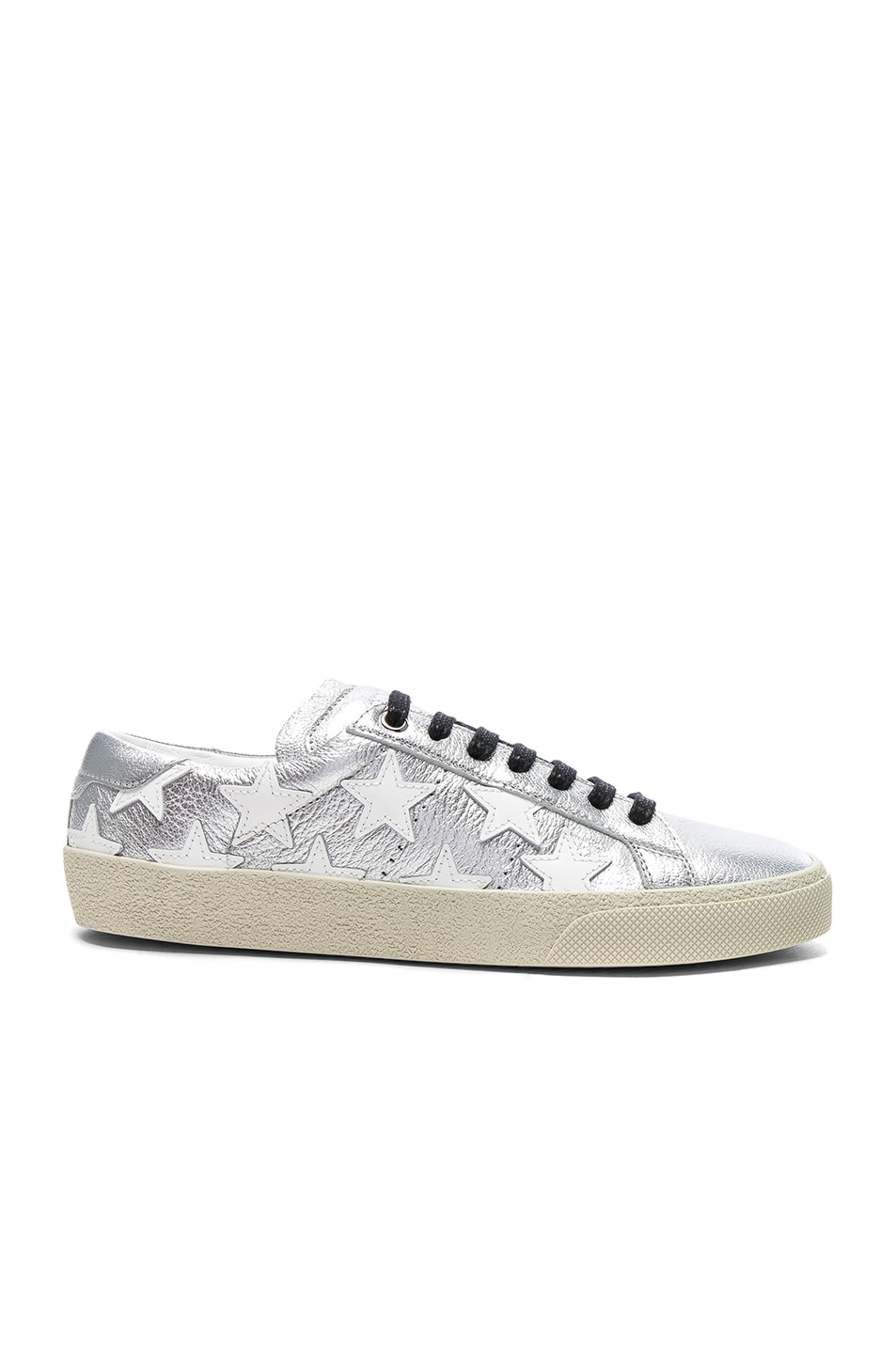 Image 1 of Saint Laurent Court Classic Star Leather Sneakers in Silver & Optic White
