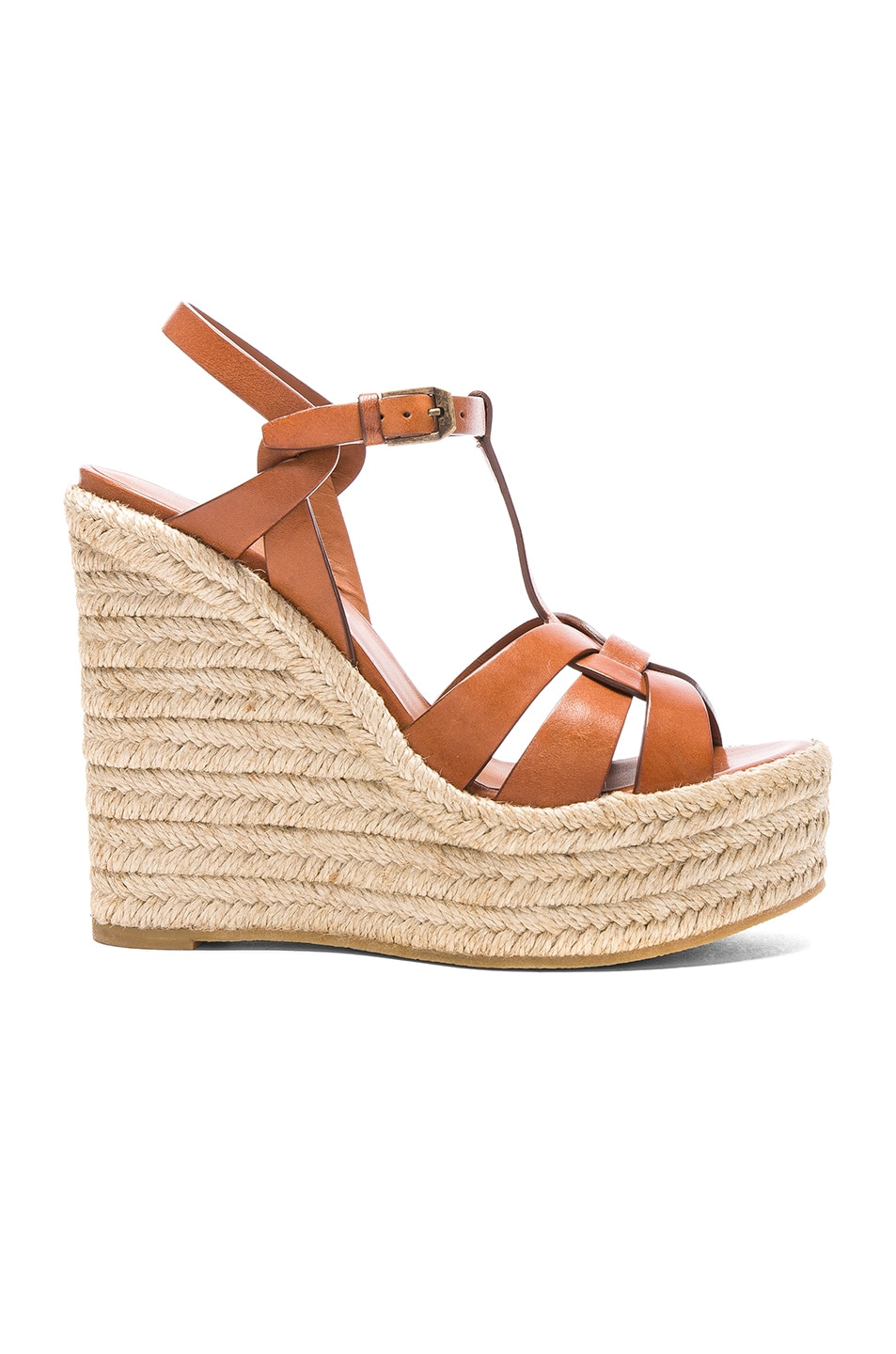 Image 1 of Saint Laurent Leather Espadrille Wedges in Amber