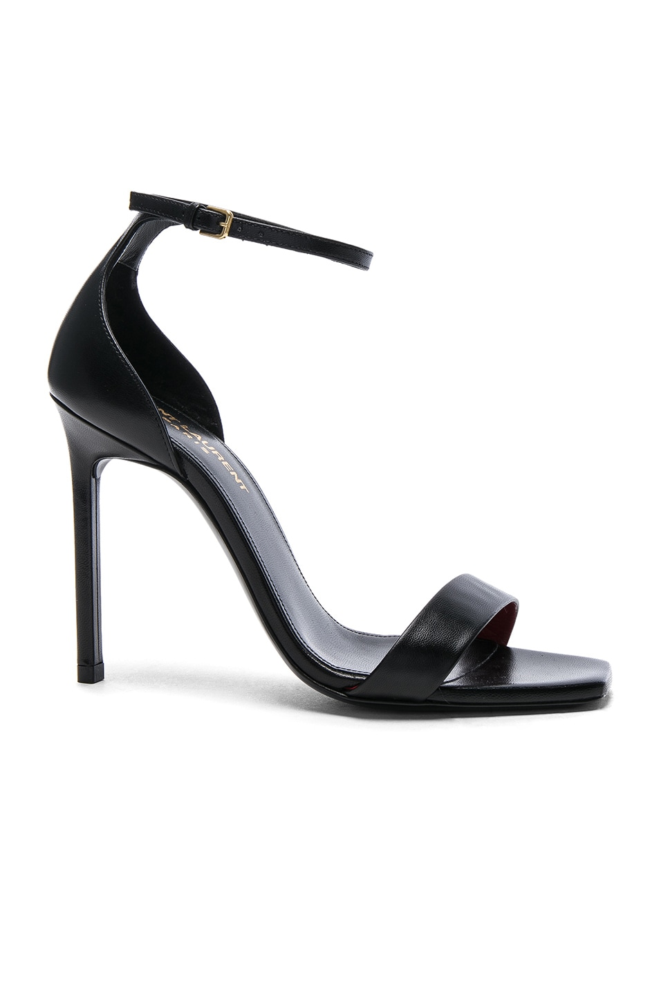 Image 1 of Saint Laurent Leather Amber Ankle Strap Heels in Black