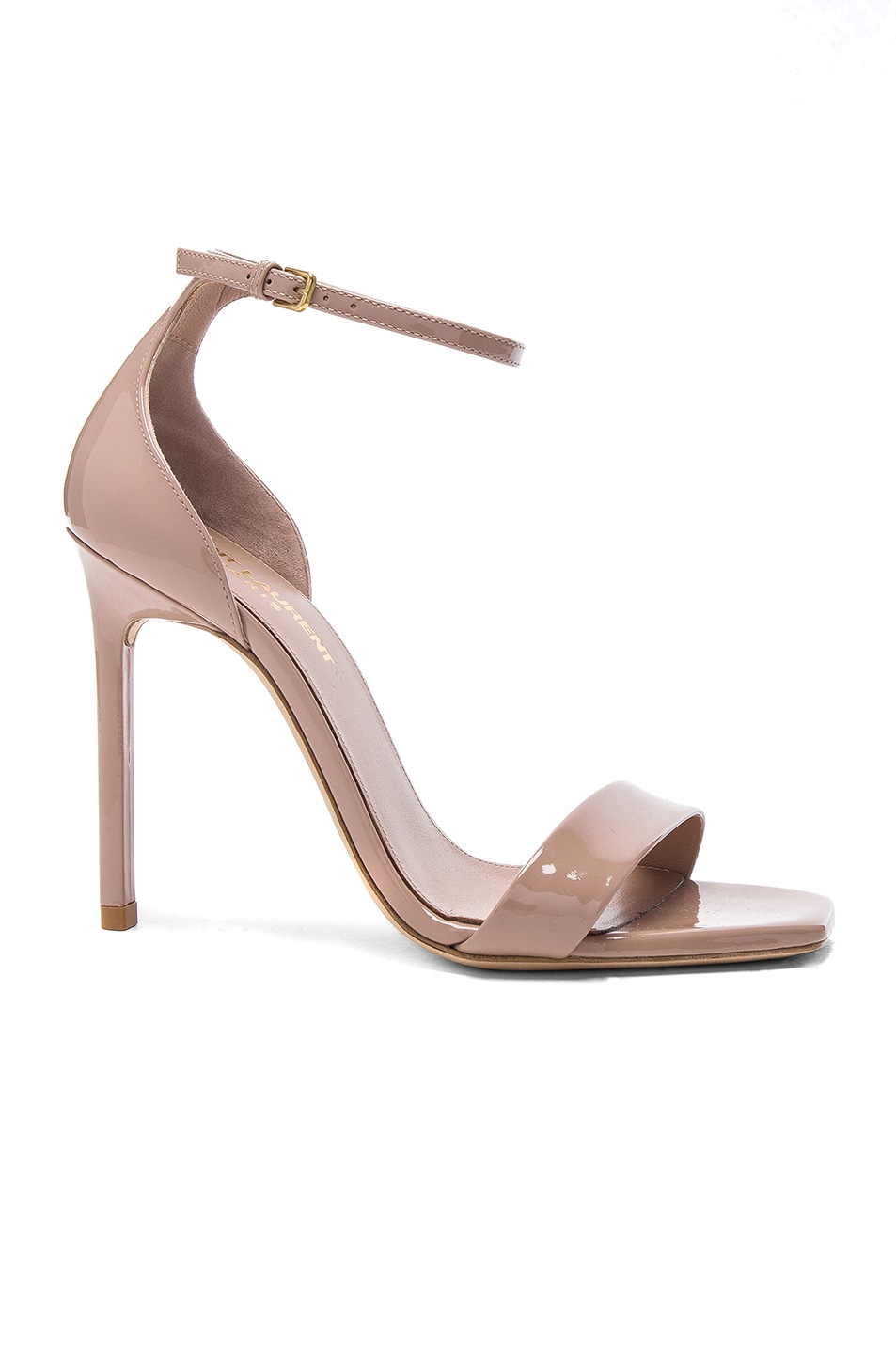 Image 1 of Saint Laurent Patent Amber Ankle Strap Heels in Nude Pink
