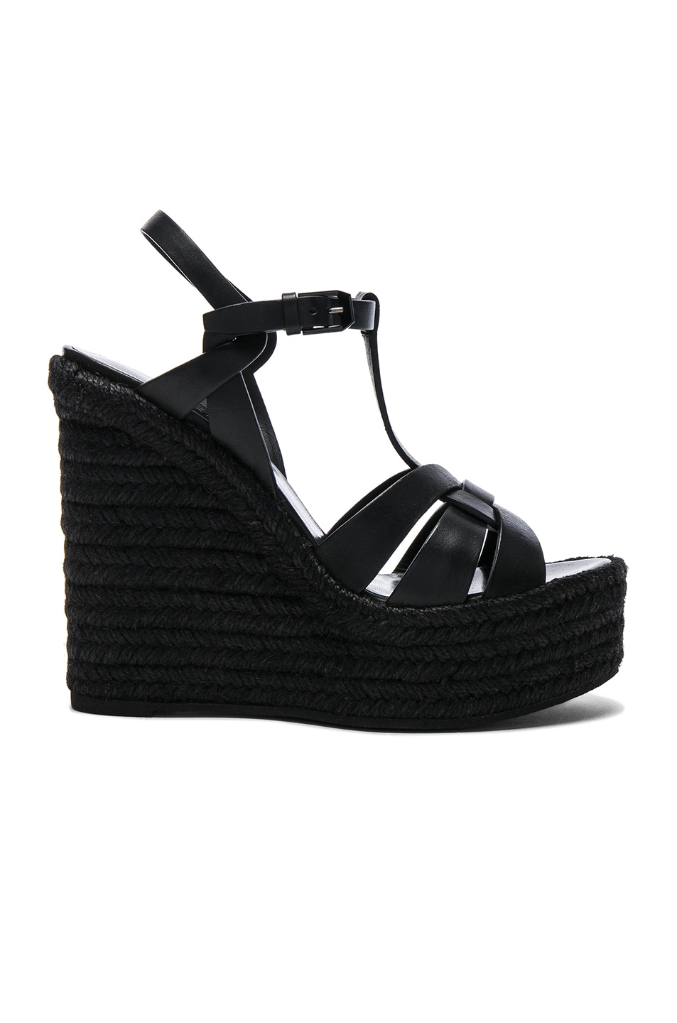 Image 1 of Saint Laurent Leather Espadrille Wedges in Black