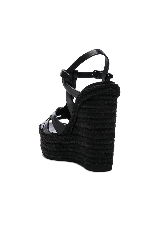 Image 3 of Saint Laurent Leather Espadrille Wedges in Black