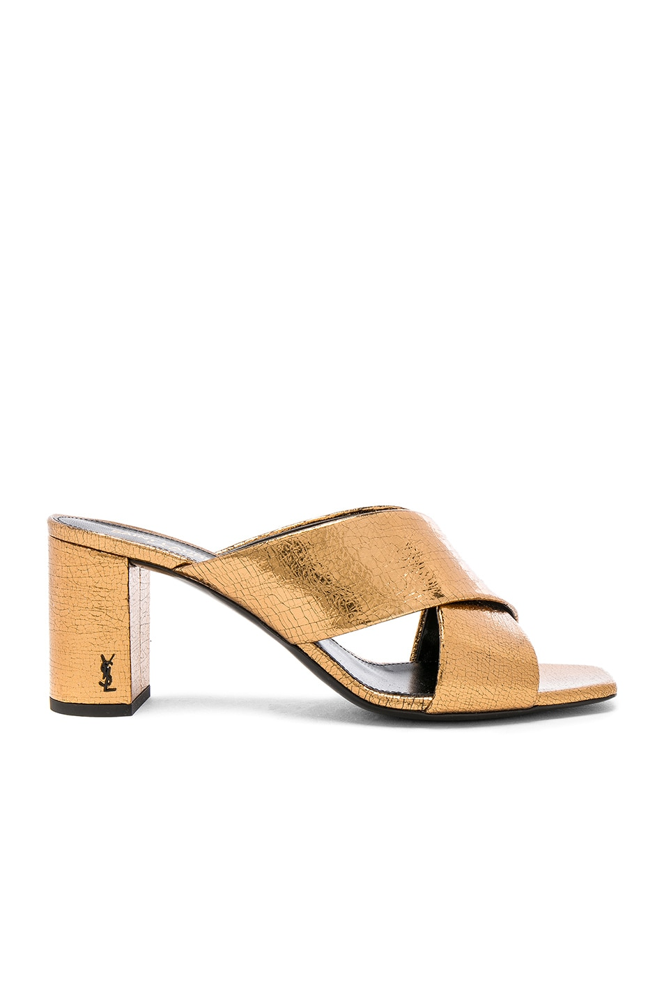 Image 1 of Saint Laurent Cracked Metallic Leather Loulou Pin Mules in Bronze