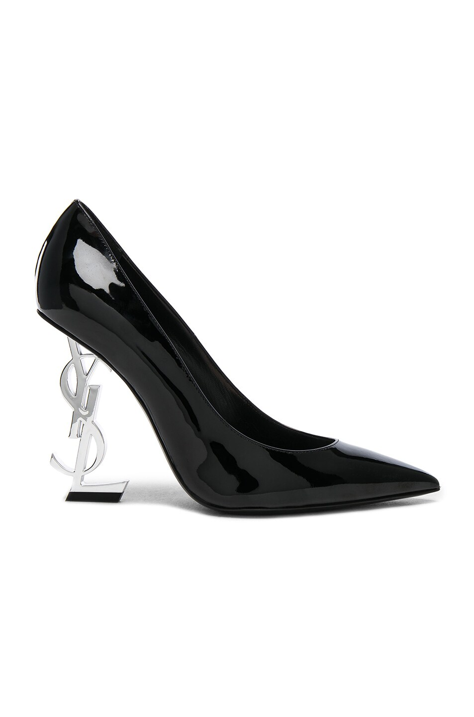 Image 1 of Saint Laurent Opium Patent Monogramme Heels in Black & Silver