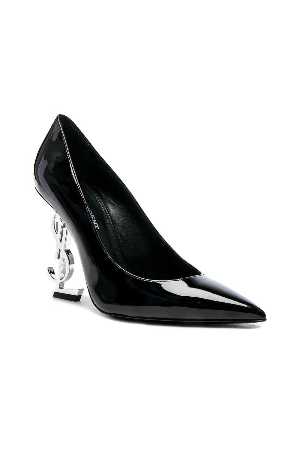 Image 2 of Saint Laurent Opium Patent Monogramme Heels in Black & Silver