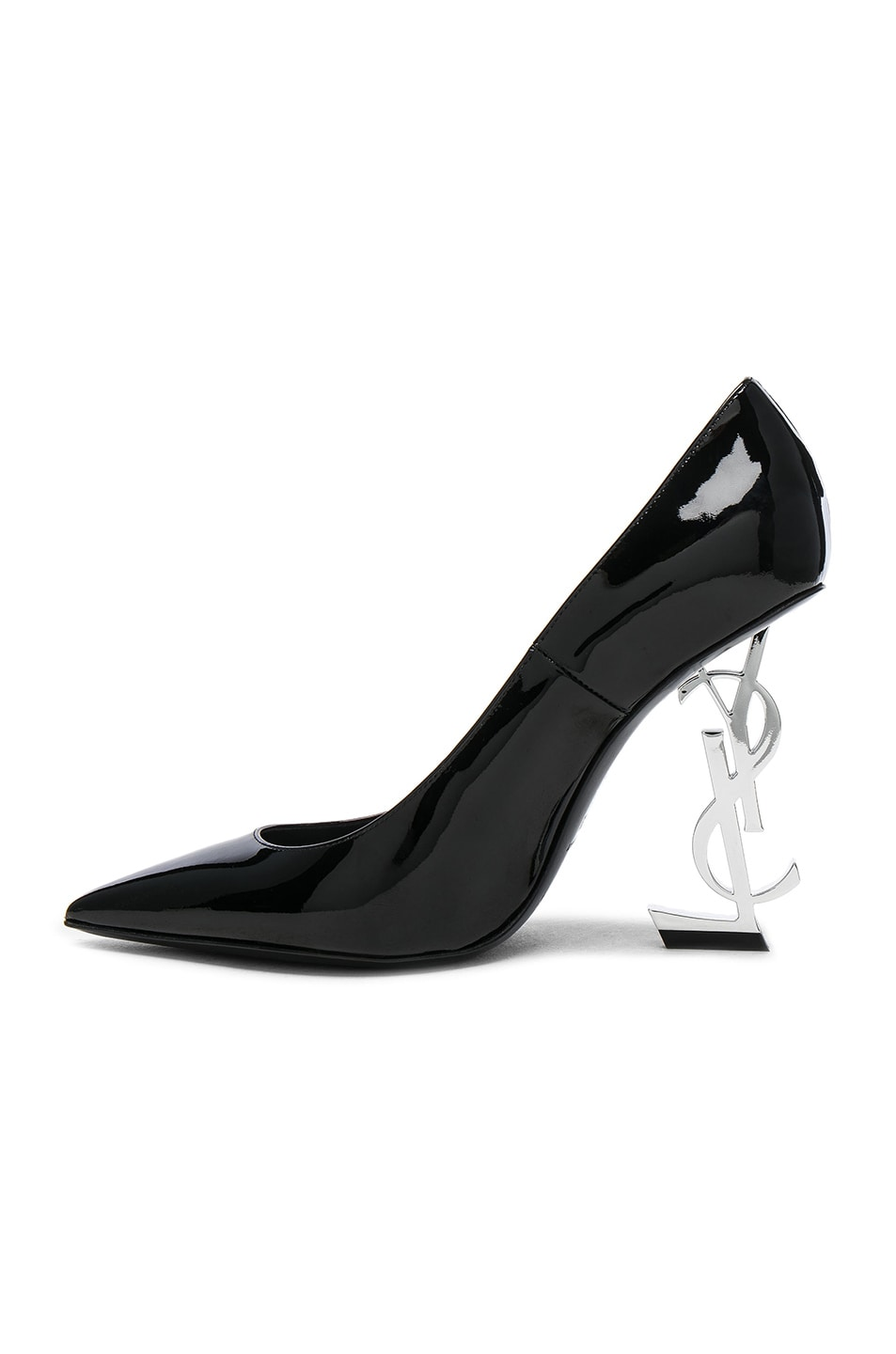Image 5 of Saint Laurent Opium Patent Monogramme Heels in Black & Silver