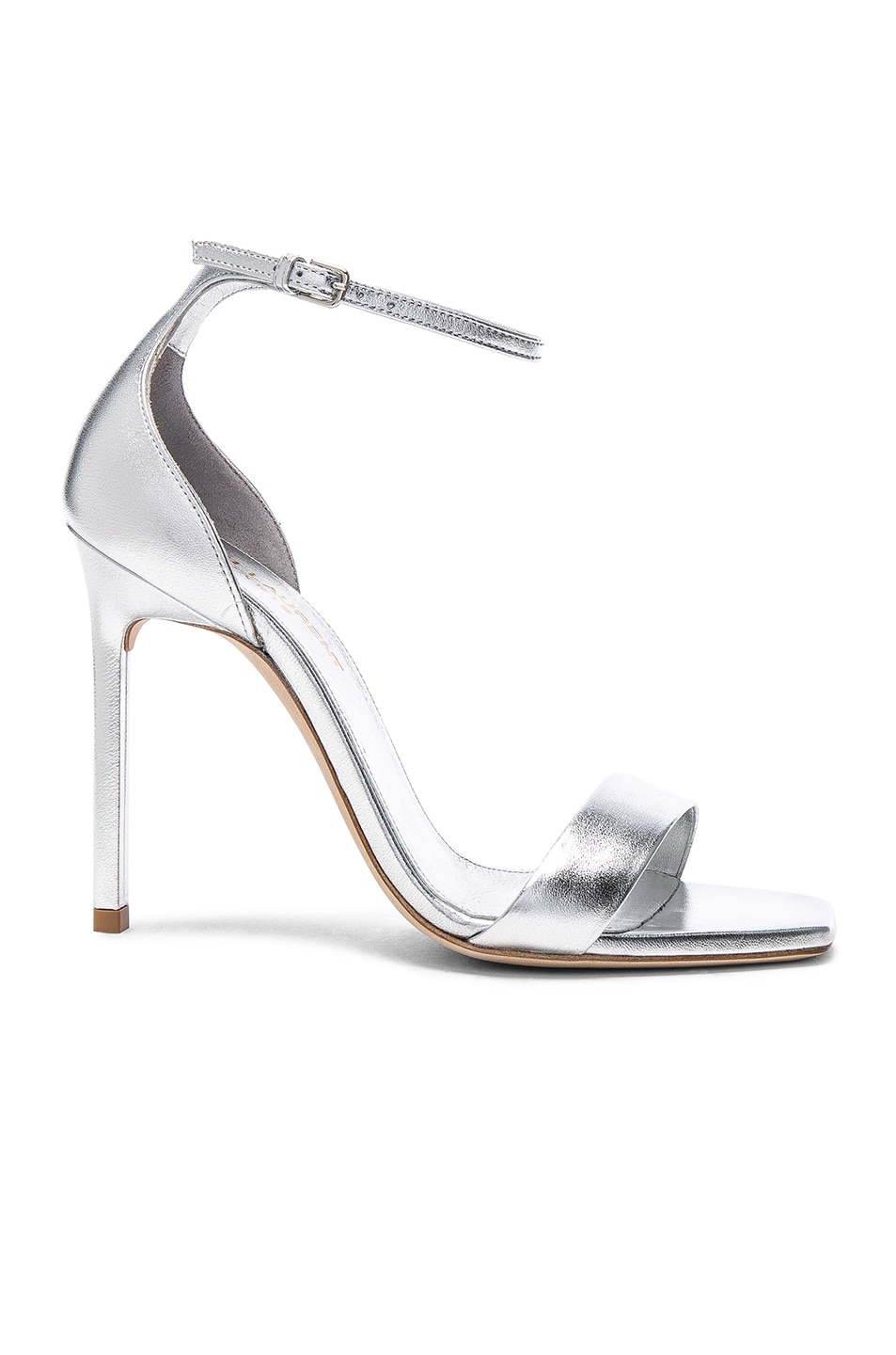 Image 1 of Saint Laurent Metallic Leather Amber Ankle Strap Heels in Silver