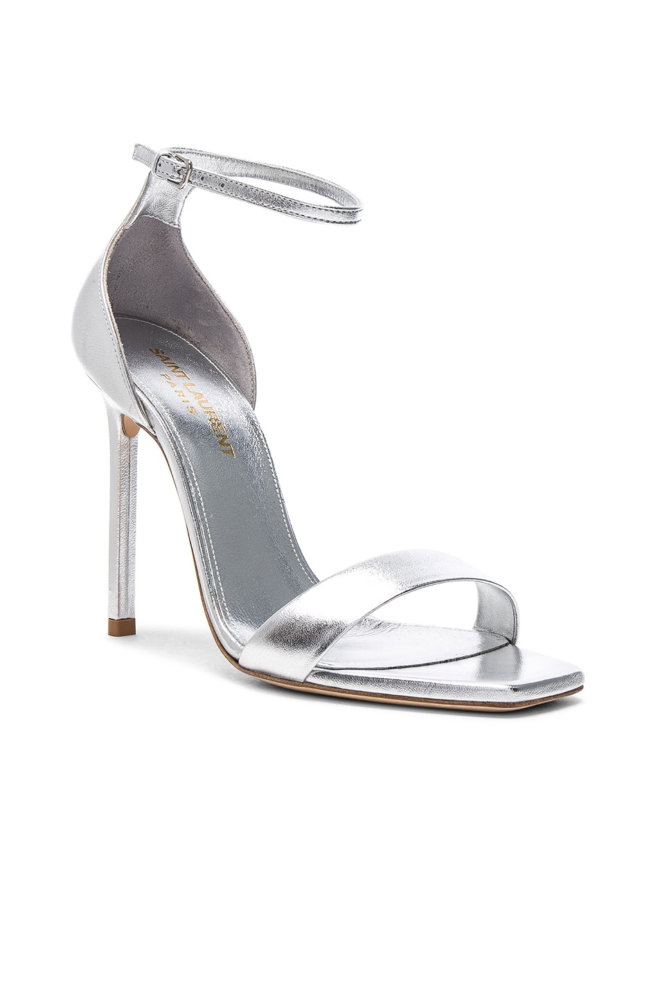 Image 2 of Saint Laurent Metallic Leather Amber Ankle Strap Heels in Silver