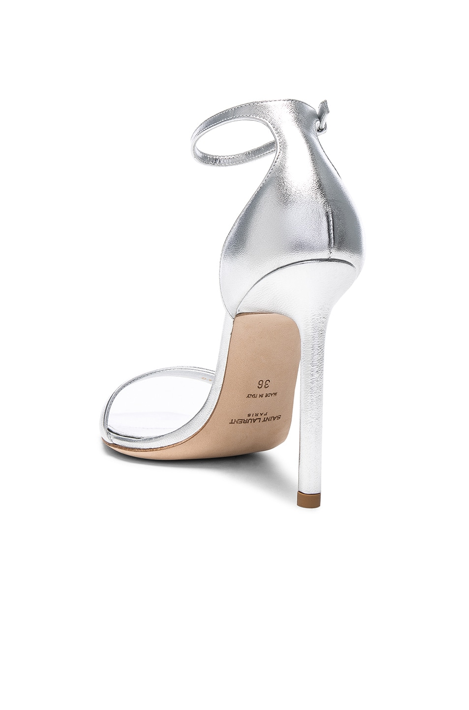 Image 3 of Saint Laurent Metallic Leather Amber Ankle Strap Heels in Silver