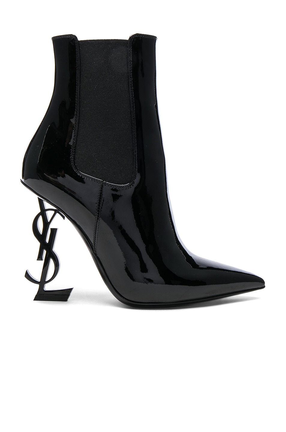 Image 1 of Saint Laurent Patent Opium Monogramme Heeled Boots in Black & Black