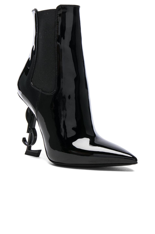 Saint LaurentPatent Opium Monogramme Heeled Boots in . 5QEzYB