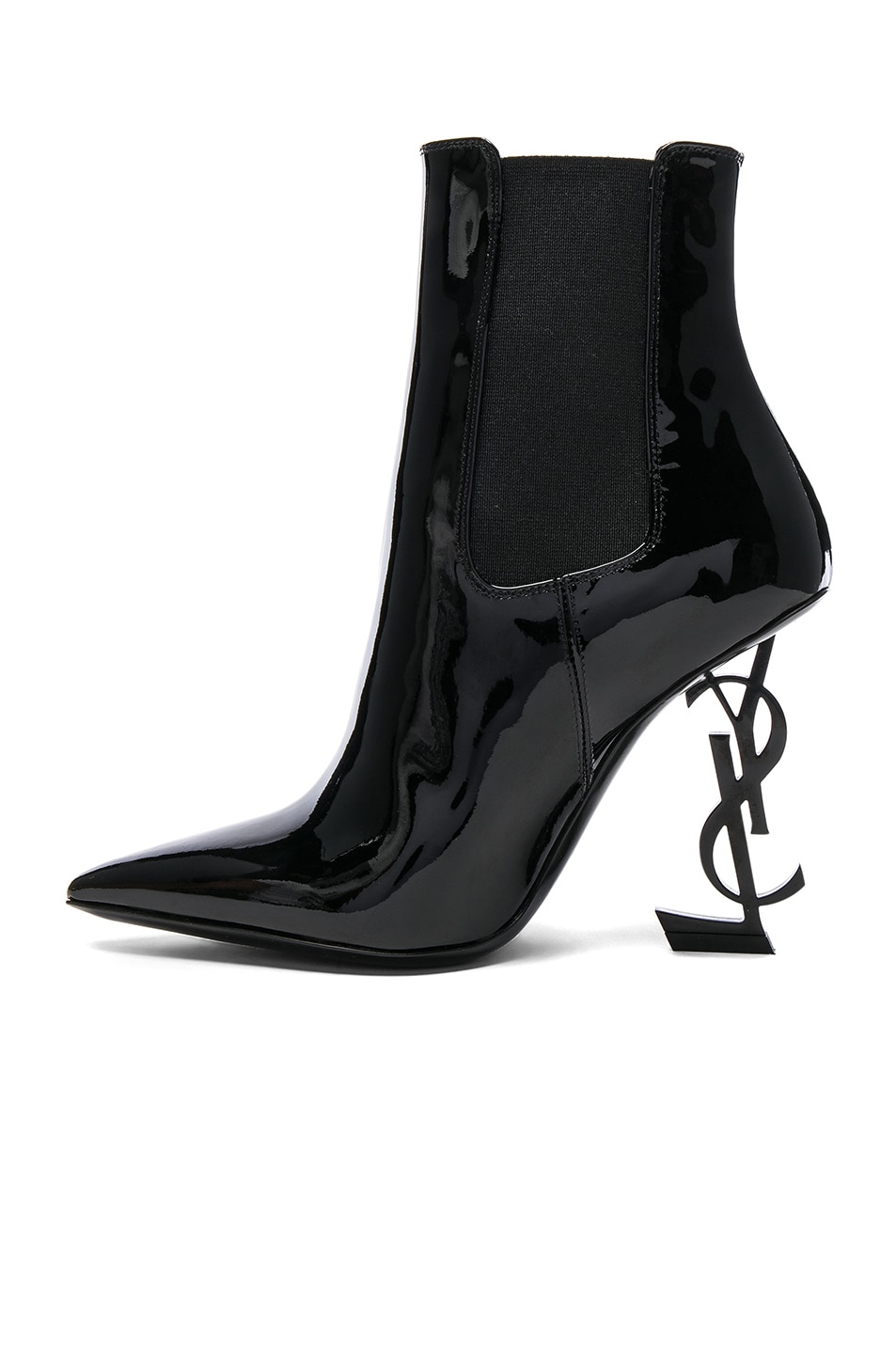 63eaf04c58b ... Image 5 of Saint Laurent Patent Opium Monogramme Heeled Boots in Black  Black ...