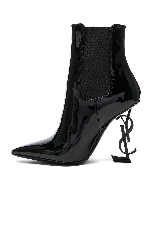Image 5 of Saint Laurent Patent Opium Monogramme Heeled Boots in Black & Black