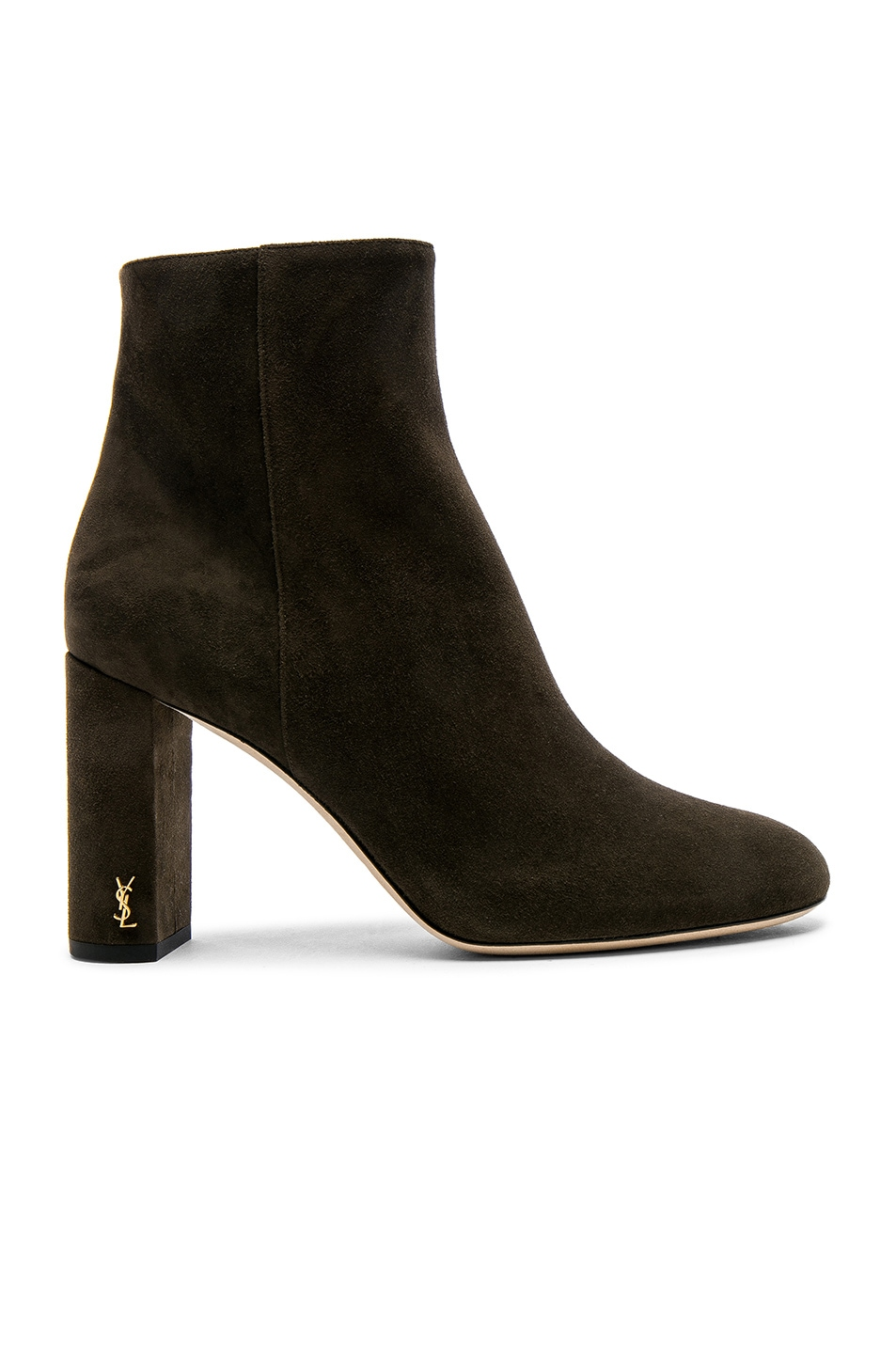 39c50a258a Saint Laurent Suede Loulou Pin Boots in Army Green | FWRD