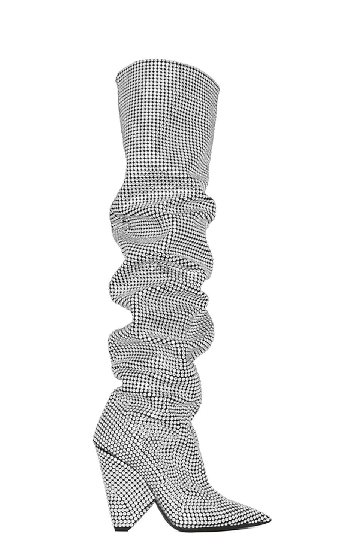 2c69f667fb8 Image 1 of Saint Laurent Niki Crystal Embellished Thigh High Boots in Black