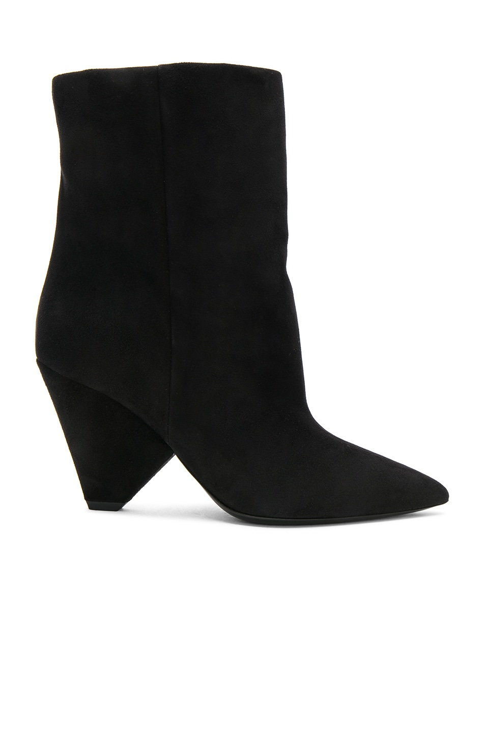 b8088c3fd32 Saint Laurent Suede Niki Ankle Boots in Black | FWRD