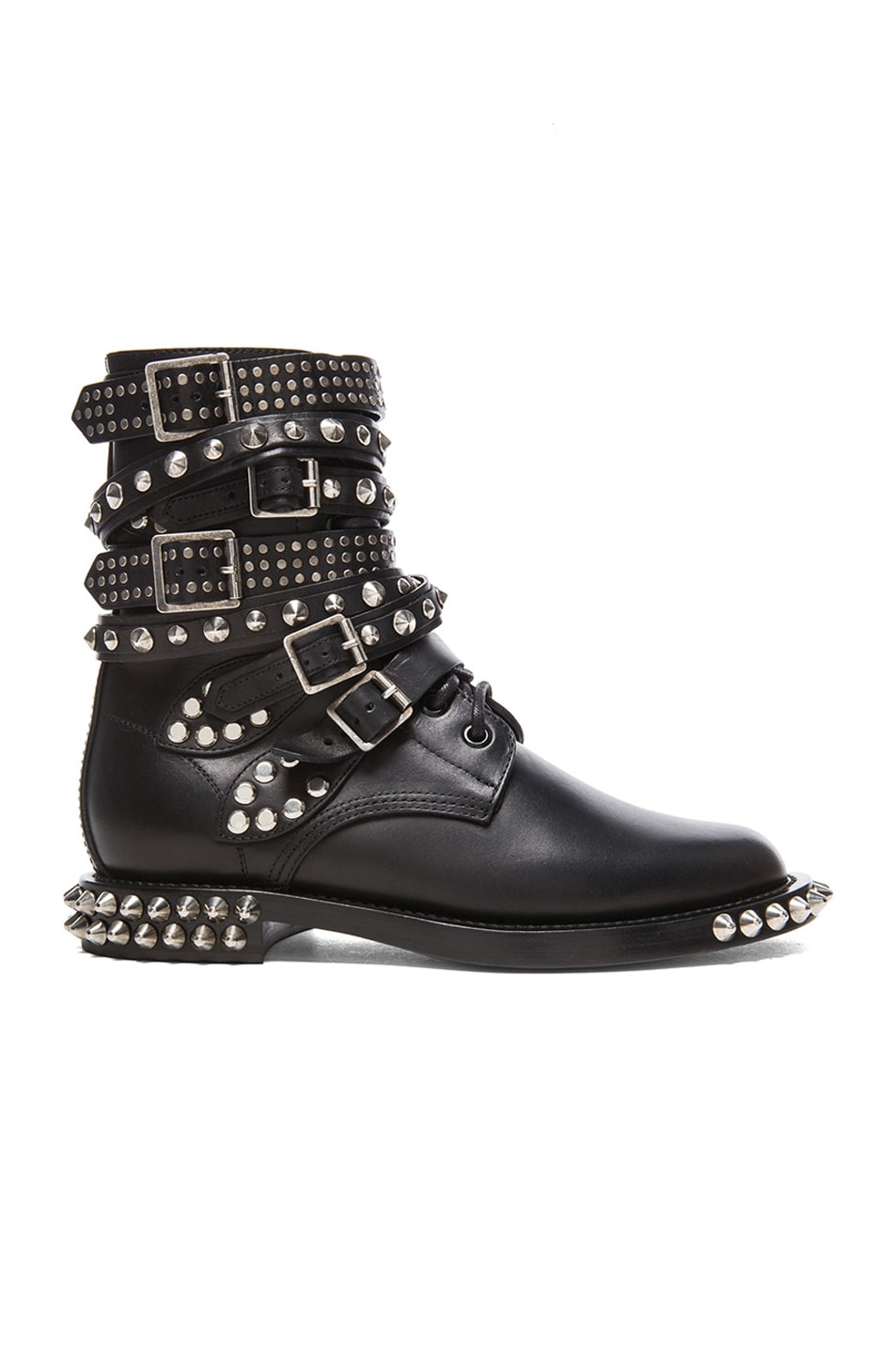 Image 1 of Saint Laurent Rangers Double Studded Leather Combat Boots in Black