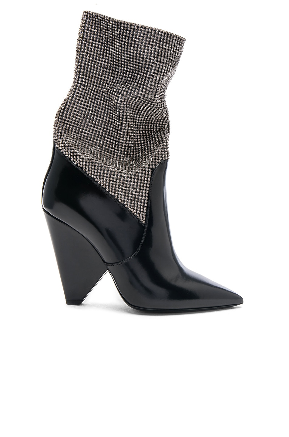 6a138cf410b6 Image 1 of Saint Laurent Mesh Crystal Embellished Niki Booties in Black