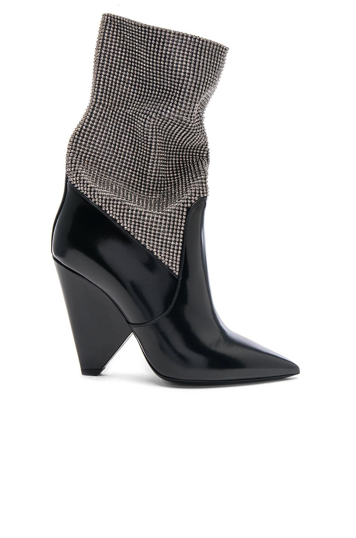 Image 1 of Saint Laurent Mesh Crystal Embellished Niki Booties in Black