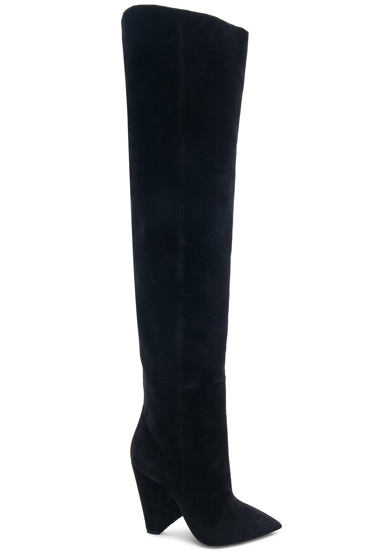 Image 2 of Saint Laurent Niki Velvet Thigh High Boots in Black