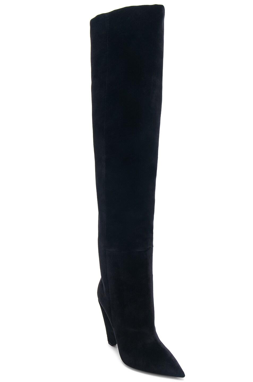 Image 3 of Saint Laurent Niki Velvet Thigh High Boots in Black
