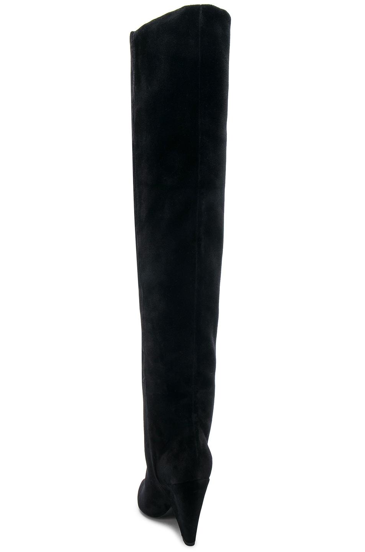Image 4 of Saint Laurent Niki Velvet Thigh High Boots in Black